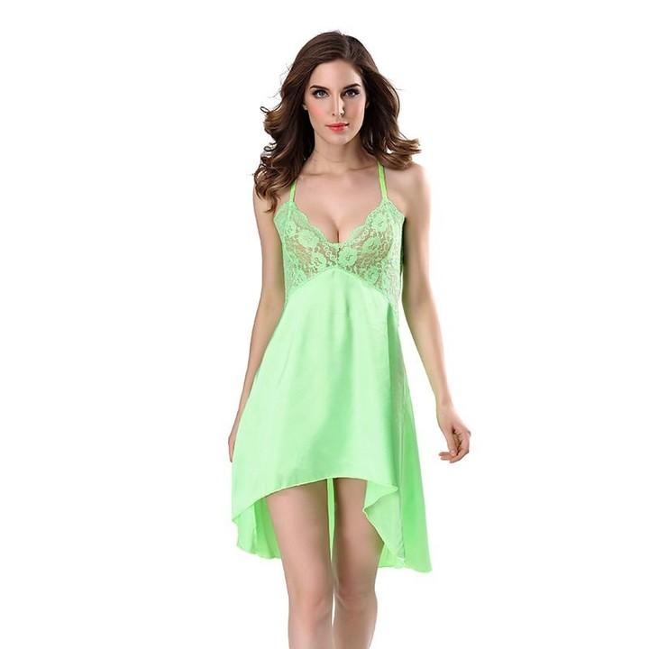 4c02f9cd3061 Sexy Stain Nightgown Women Lace Sleepwear Night Dress Sexy Strap Lingerie  Slik Nightwear Nightdre
