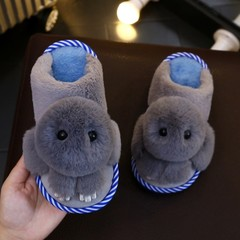 Cotton Home Slippers Shoes Winter Boys And Girls Drag Kids Indoor Slippers Soft Non-slip Autumn B