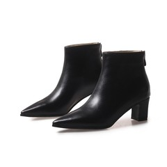 Women Boots Pointed Toe Square heel Ankle Boots Women Shoes Med Heel Zipper 2018 Winter Short Plu