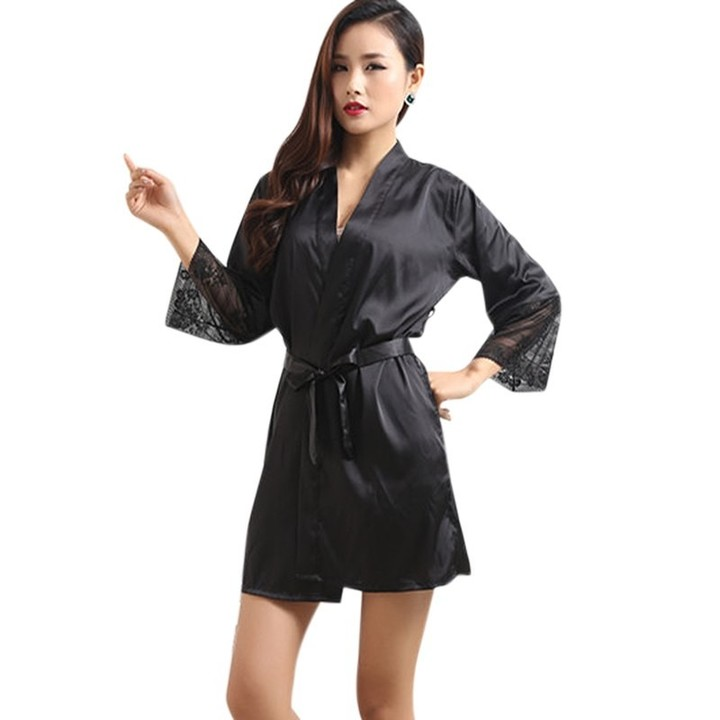0437ae722c Robes Sexy Pijamas Sleepwear Homewear Belt Lace Long Sleeve Female Fashion  Casual Robe Women Silk