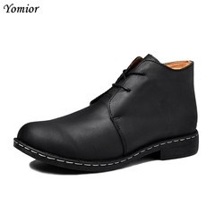 Brand Fashion Autumn Winter Men Cow Leather Boots Casual Ankle Boots New Male Breathable Motorcyc