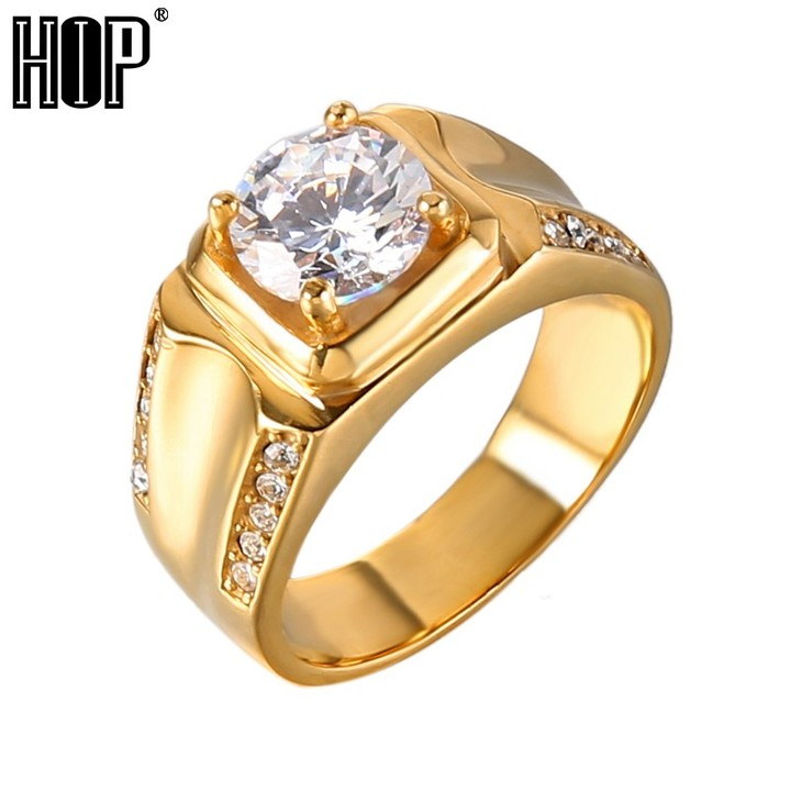 1fa4a99e55 Hop Golden Bling Iced Out Cubic Zirconia Men Ring IP Gold Filled Titanium  Stainless Steel Rings H