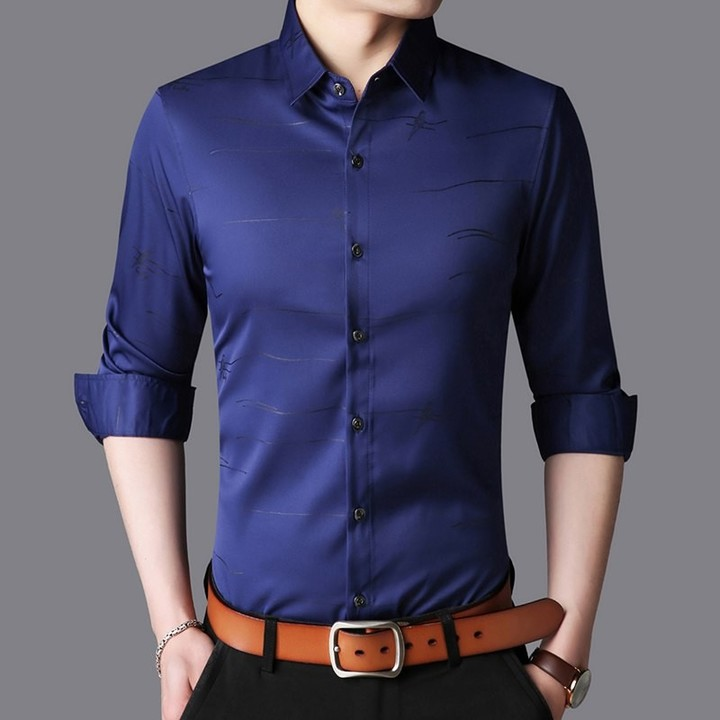 bb694453 Casual Turn down Collar Shirts Men Designer Brand Slim Fit Man Shirt Long  Sleeve Striped Shirts