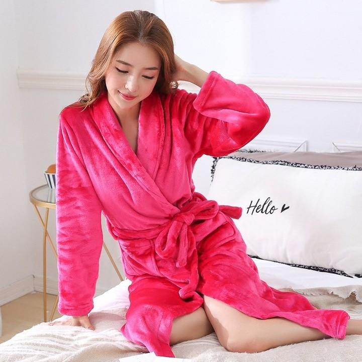 f98ceac815 Autumn Winter Bathrobe Long Women Sexy Sleepwear Kimono Robe Warm Female  Cotton Thick Flannel Rob