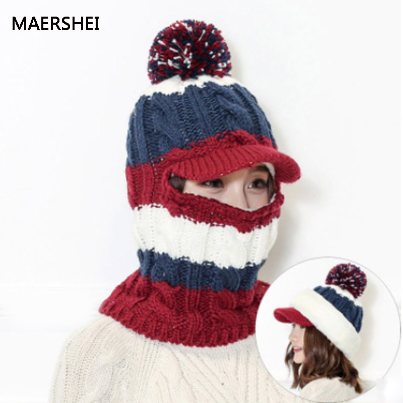2018 Winter Knitted Hat Women Caps Scarf Mask Hats Bonnet Warm Baggy ... b03960d0c18
