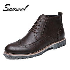 Leather Men Boots Autumn Winter Ankle Boots Fashion Footwear Lace Up Bullock High Quality Vintage