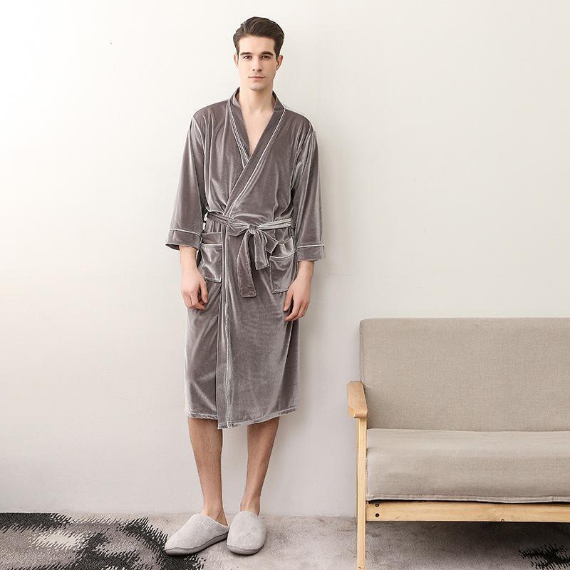 720b36c13b Robe Men Velvet Women Hot Sale Winter Warm Solid Kimono Bathrobe ...