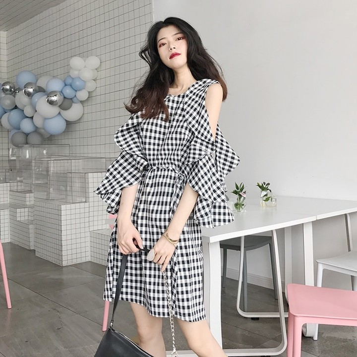 418ee3fbadb Casual Dresses Ulzzang Japanese Kawaii Lady Summer Plaid Strapless Dress  Female Cute Korean Haraj