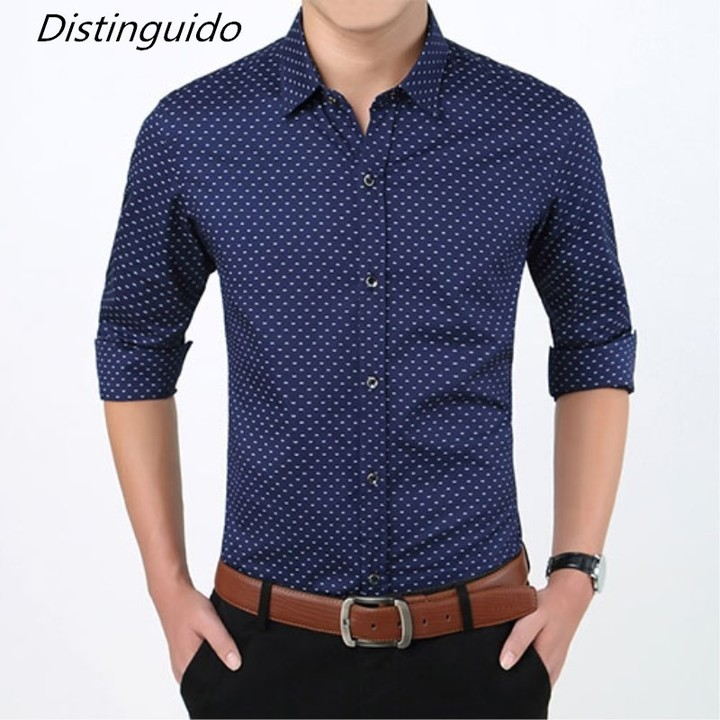 1e223afcf63 Fit Male Social Business Dress Shirts Formal Polka Dot Men Casual ...
