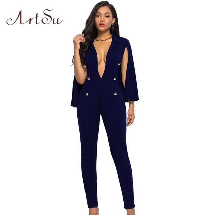 8b1b9125160b Fashion Women Sexy Jumpsuit One Piece Party Wear Skinny White Lady Female  Rompers Deep V-