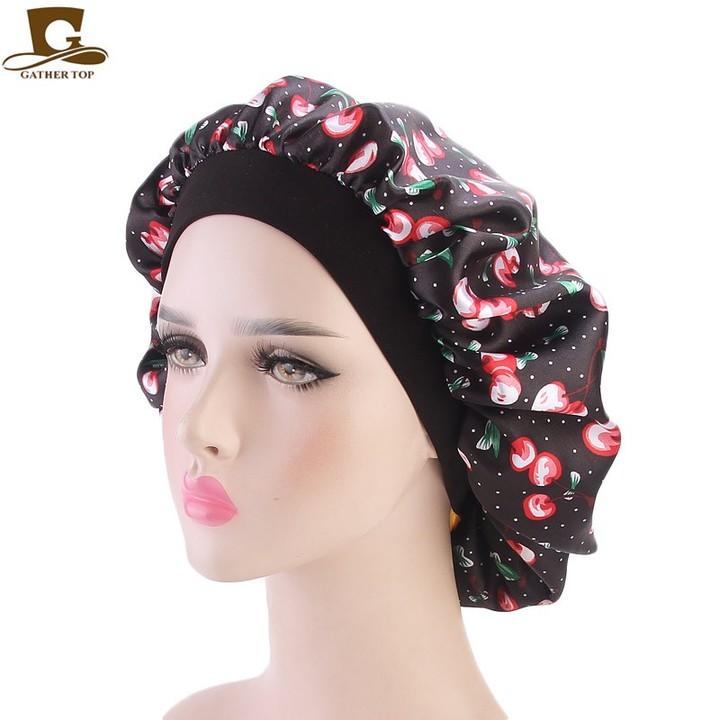 bda8f0dd6 Women Fashion Night Sleep Hat Wide Band Hair Loss Chemo Hat Floral Print  Comfortable Satin Bonnet