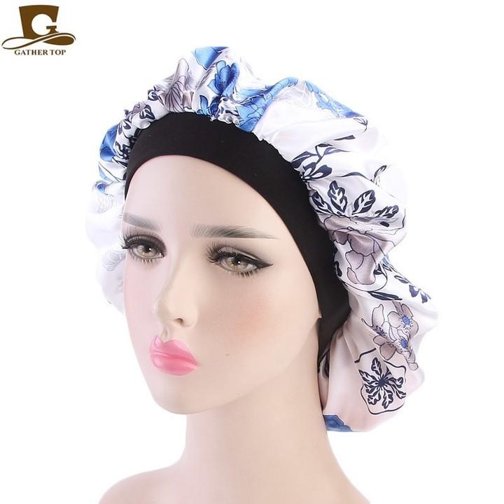 dc99a3a2f1a Women Fashion Night Sleep Hat Wide Band Hair Loss Chemo Hat Floral Print  Comfortable Satin Bonnet