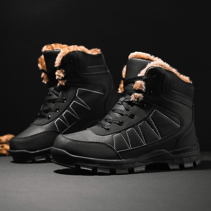 f7ce2b19b585 Plush Cotton-padded Shoes Winter Super Warm Running Shoes Big Size  Waterproof Leather Snow Boots