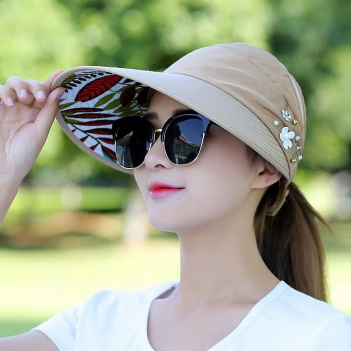 2018 simple women summer beach Sun Hats pearl packable sun visor hat with big  heads wide 54add14aeab5