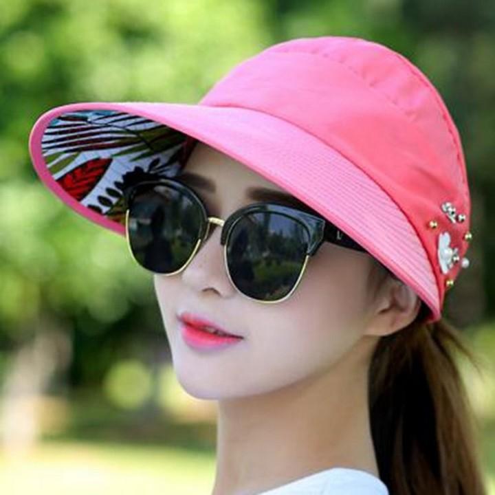 45aa126d25a 2018 simple women summer beach Sun Hats pearl packable sun visor hat with big  heads wide
