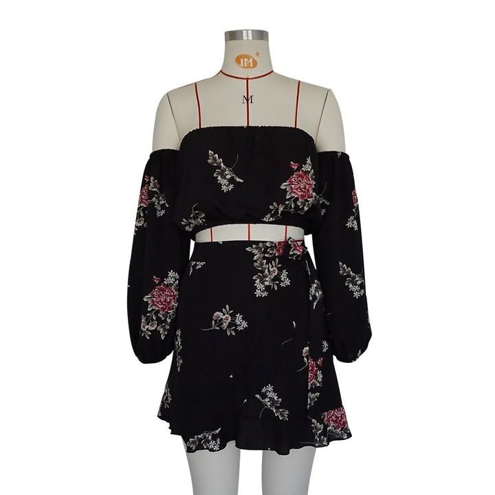 71610986b3 Fashion floral print Women 2 two Piece Set dress Bandage mini Skirt Crop Top  off shoulder