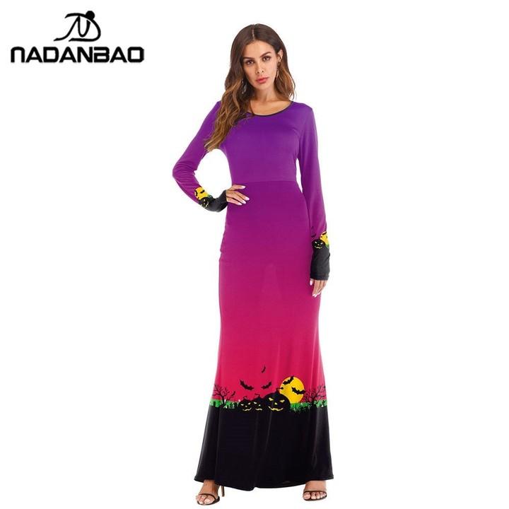 Lightning Pumpkin Lantern Summer Dress 2018 Women Halloween Digital Printed Plus  Size Long Dresse b3dc47372381