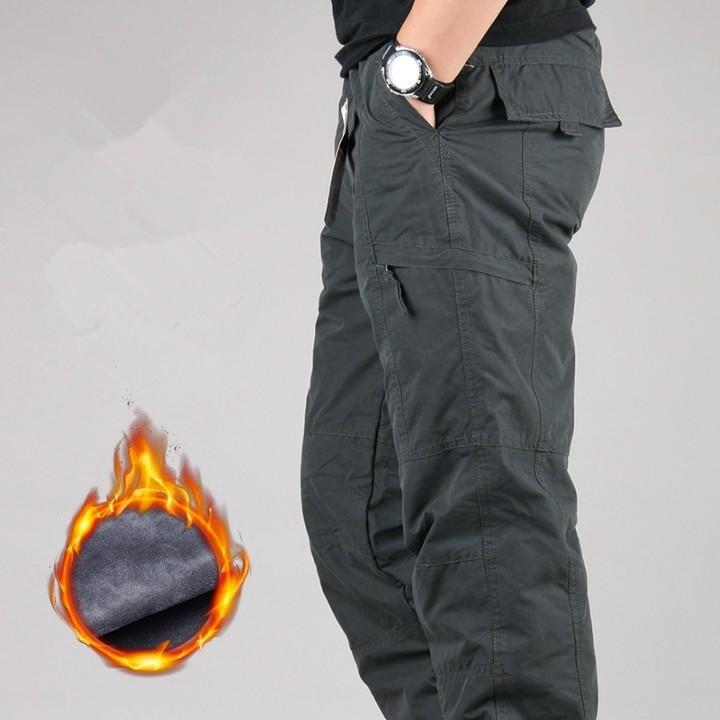 01cbc1c90ea Size Men Cargo Pants Winter Thicken Fleece Cargo Pants Men Casual Cotton  Military Tactical Baggy