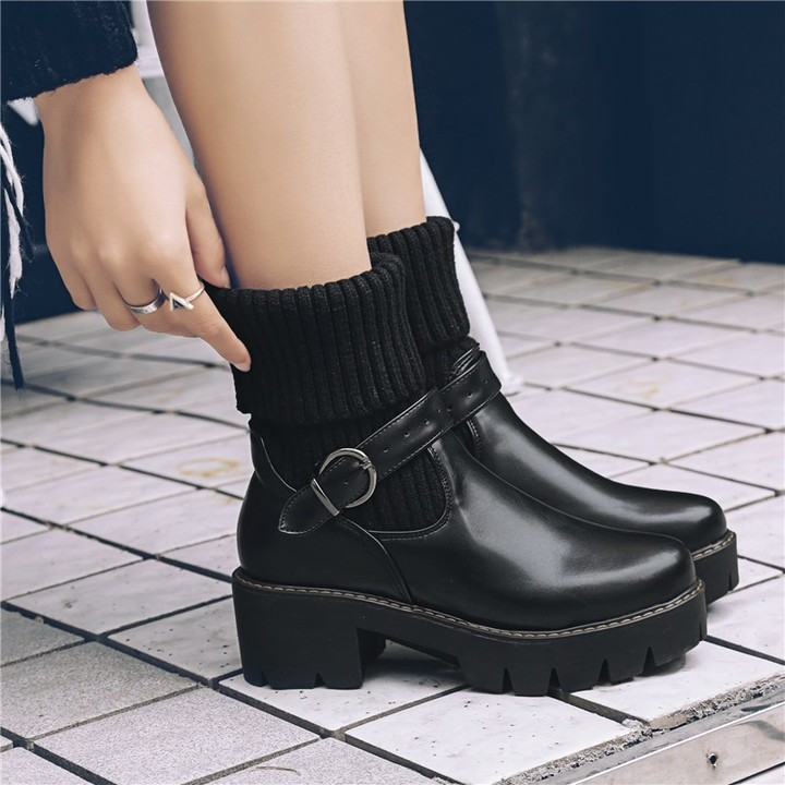 7672e557889 2018 Punk High Block Heel Knitting Buckle Strap Womens Gothic Ankle Boots  Black Green Ladies Shoe