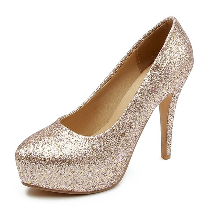 Fashion Glitters Party Wedding Pumps Women Spring Autumn Plus Size 32-48 Sexy Shallow slip-on Hig