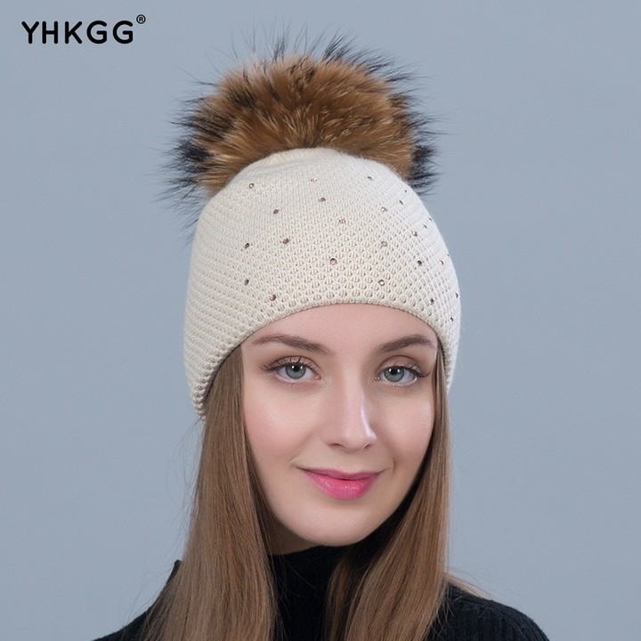 c572fdccd12bc Fashion Winter Knitted Wool Thick Hats Natural Raccoon Pom Pom Hat Skullies  Female Brand Cap 2018