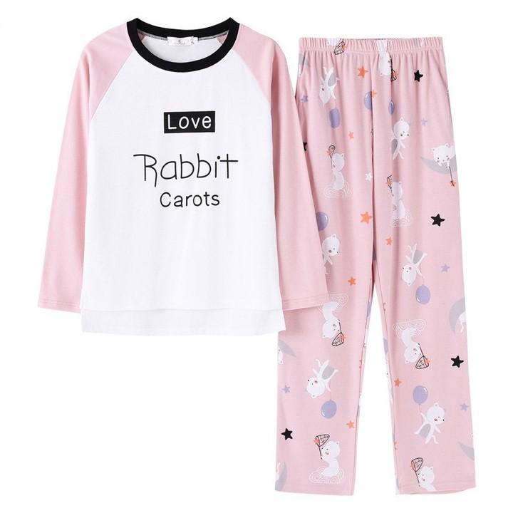pajamas womens autumn pyjamas set cotton cartoon pattern top+pants Sleepwear  suit cute home cloth 8e2791adf