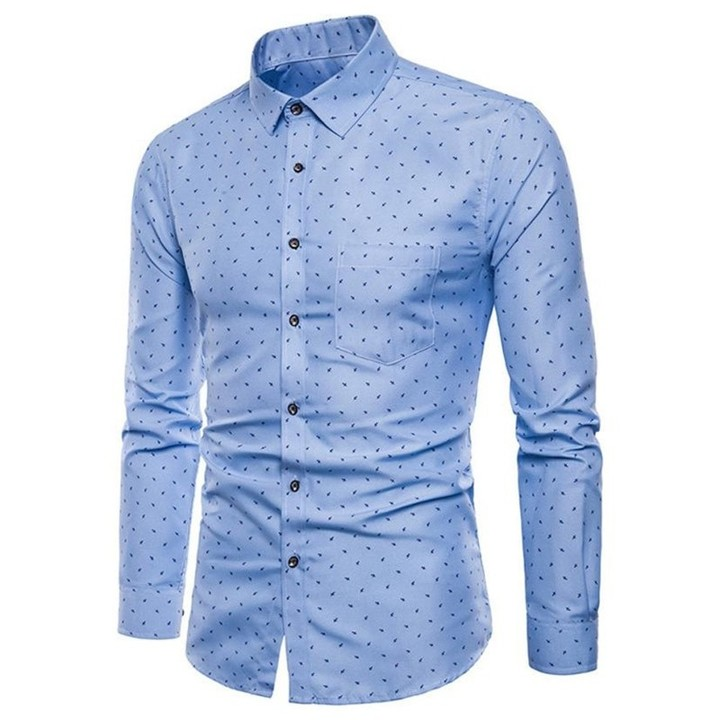 4064edc6fe47 ISHOWTIENDA New male Shirt Long Sleeve business pure color dot Shirts  Oxford Formal Slim Dress d