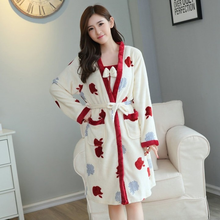 c951bef0ac Flannel Winter Robe Sexy Robes for Women Bathrobe Dressing Gowns for Women  Bathrobes Young Girl S