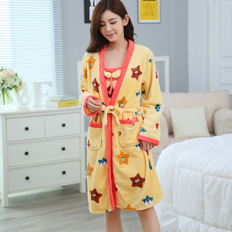 227bc658b9 Flannel Winter Robe Sexy Robes for Women Bathrobe Dressing Gowns for ...