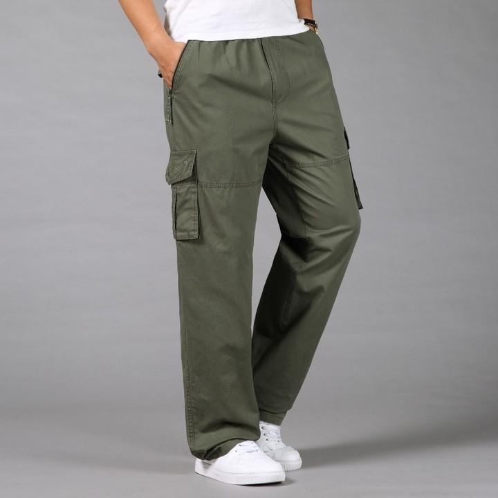 82768840f888f size casual loose men Cargo pants Safari Style male trousers plus size  cotton Elastic Waist long