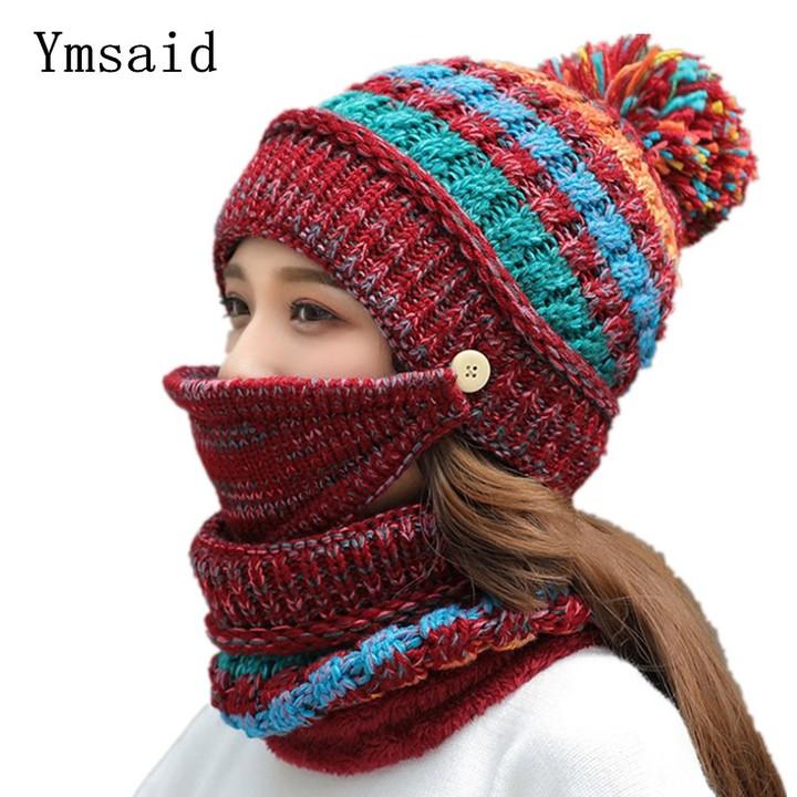 ba1040d6552df8 Winter Women Hat Skullies Warm Hats Women Wool Scarf Mask Hat Caps 3-Pcs Set