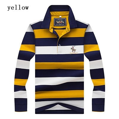 e18de81575 ZONE 2018 High Quality 3D embroidery Striped Long sleeve POLO shirt Mens  Polo Shirt men polo