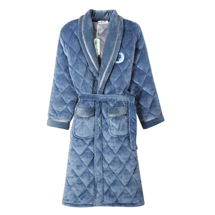 e9826343d2 Flannel cotton men pajamas thicken plush size winter kimono homme peignoir  bathrobe terry robes p