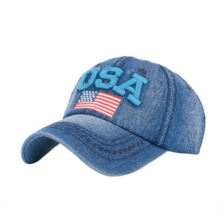 ace8117396c Womens Hats And Caps Summer USA Denim Rhinestone Baseball Cap Snapback Hip  Hop Flat Hat