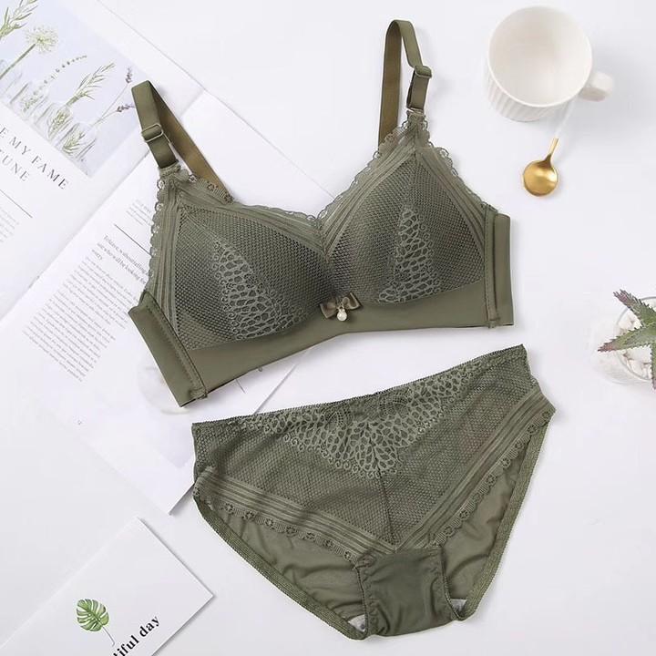 Green Women Fashion Wireless Lace Bow Bra Set Cotton Panties Push Up Underwear  Sexy Lingerie Sets 298a22e68