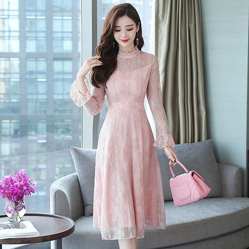 fc31893a822 Autumn Winter Plus Size Pink Vintage Lace Midi Dresses Women Elegant  Bodycon Black Dress Party Lo: Product No: 3258858. Item specifics: Seller  ...