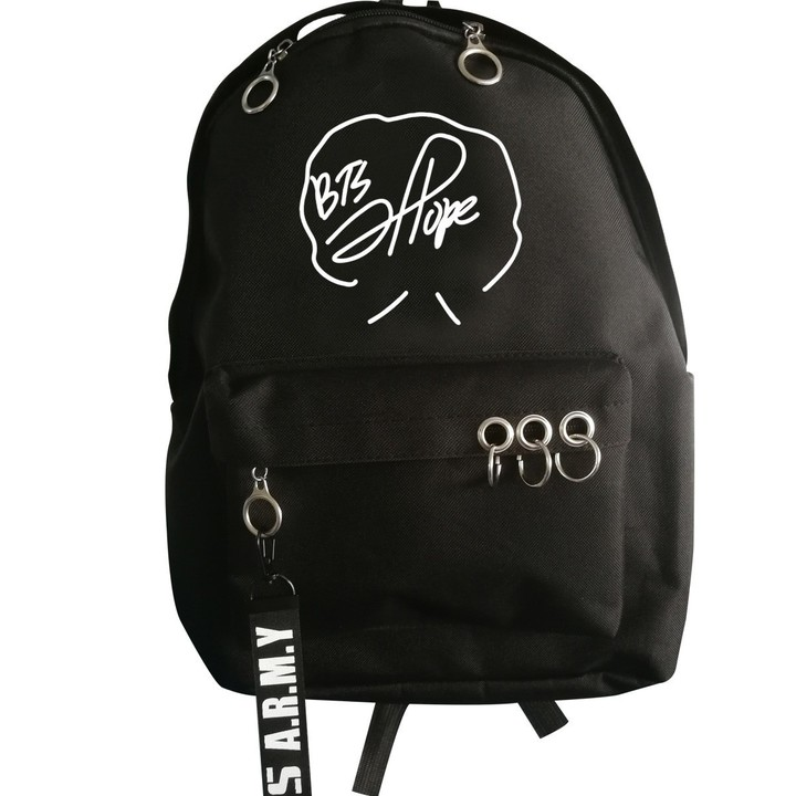 Backpack for Teenagers Hip Hop Girls Boys School Bag Mochila Bts Signature  Daily Laptop Backpack 743ea1be4a2df