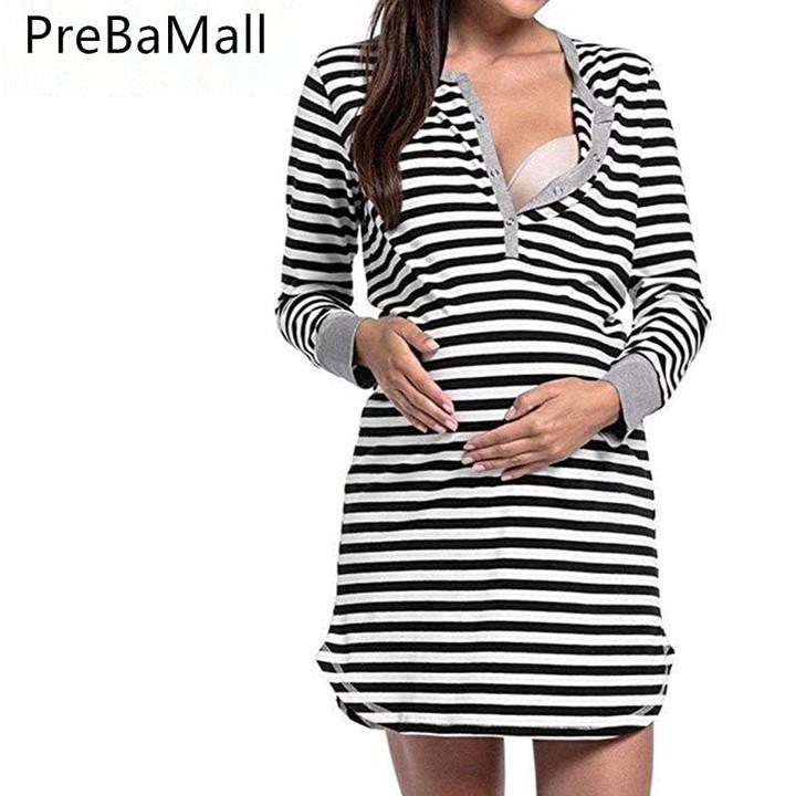 dfafe300340 Breastfeeding Dress Clothing for Pregnant Woman Striped Maternity Dresses  Nursing Pregnancy Cloth