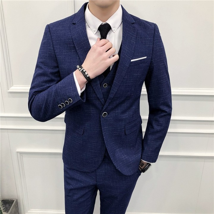 Autumn Smart Casual Mens Three Suits Business Grooms Gowns Black