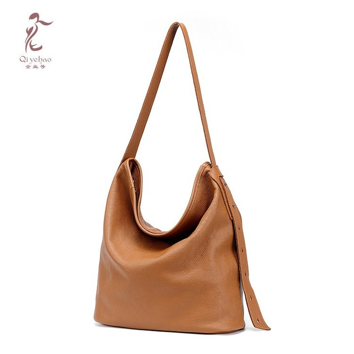 e8f95c629647 Fashion Women Genuine Leather Handbag Casual HOBO Female Shoulder Soft Skin  Large Bucket Shopping