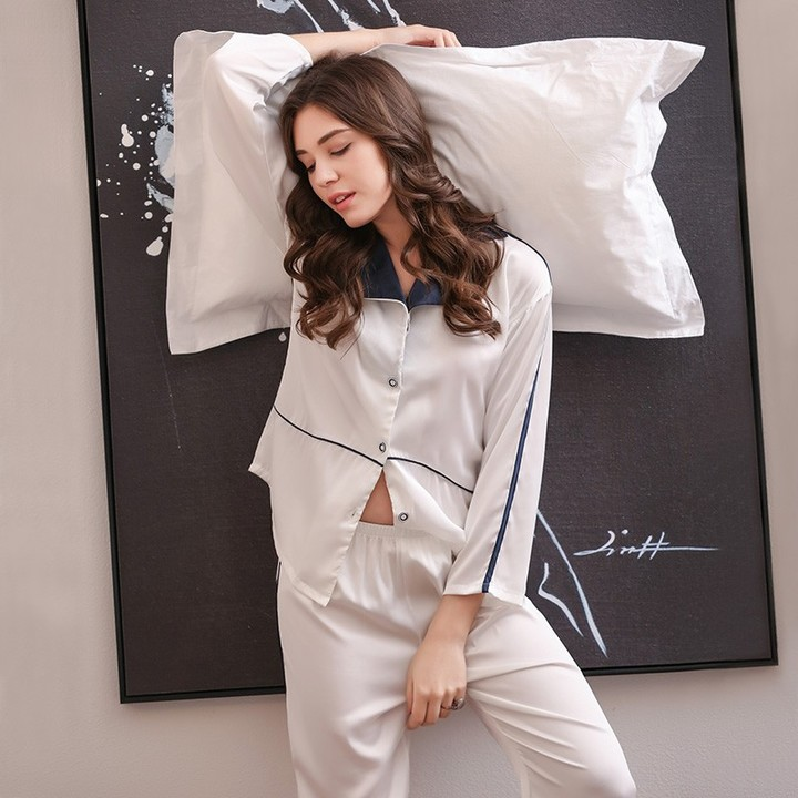 34ec75e367 winter women bowknot china satin sleepcoat   pants two piece sleepwear  female plus silk stain