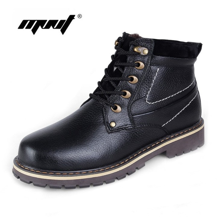 169187b26 Warm Men Winter Boots Genuine Leather Boots Shoes Handmade Ankle Snow Boots  Outdoor Winter Shoes