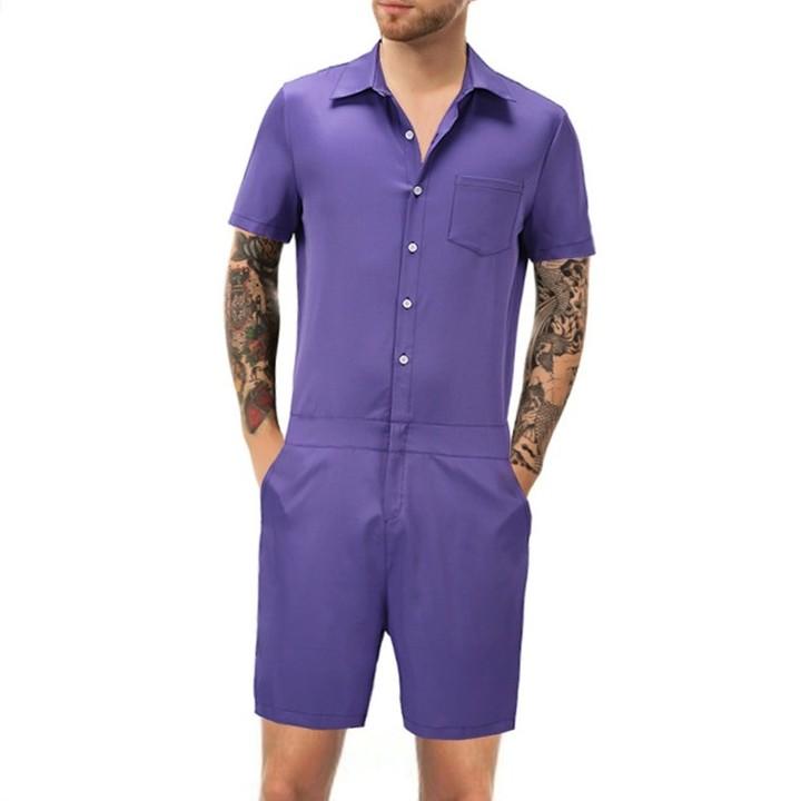 b523e551286 Men Romper Suit Solid Color Short Sleeve Casual Man Onesies Jumpsuit Male  Overalls One Piece Suit