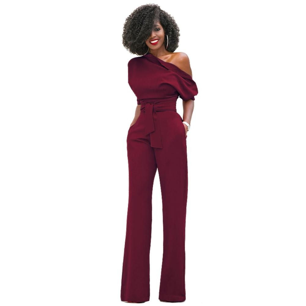 639ccb7f6b19 Rompers Women Sexy 2017 Summer Autumn Classic pure color inclined ...