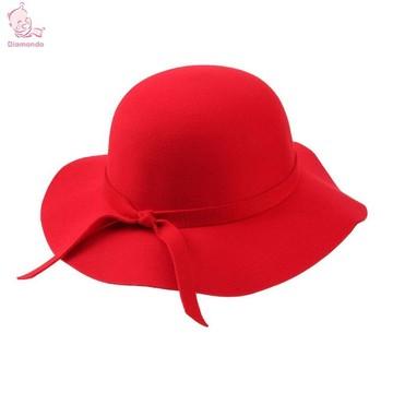fcf185ea4cdc1 Kids Hats Wide Brim Fedora Wool Hat Sun Beach Cap Chapeu Sombrero Vintage  Hats Girls Black