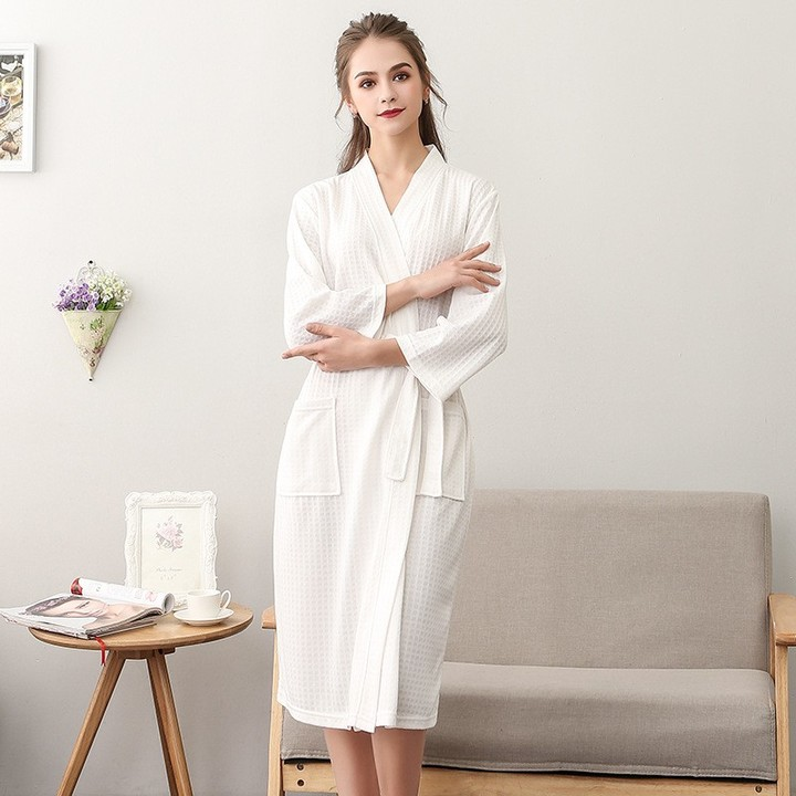 131ce4eed9 Thin Bathrobe Female Waffle Peignoir Long Paragraph Seven-point Sleeves Robe  Women Dressing Gown