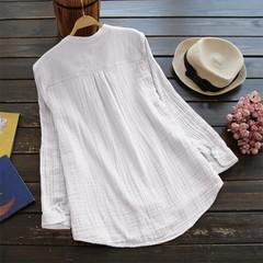 Size Cotton Linen Long Sleeve Shirts Women Blouse Vintage Autumn Tops Button Tunic 2018 Casual Lo