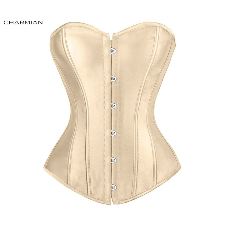 ec1ee9d0767 Womens Plus Size Sexy Overbust Corset Black Satin Corsets and Bustiers Waist  Trainer Body Shaper