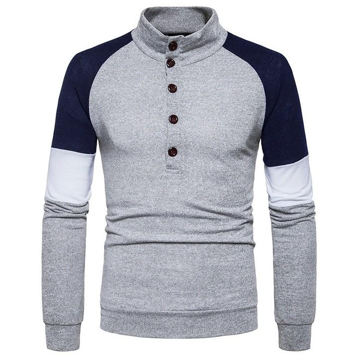 9e2e17a787 new European code button down collar Hengli metrosexual man hit color slim  long sleeved knit swea