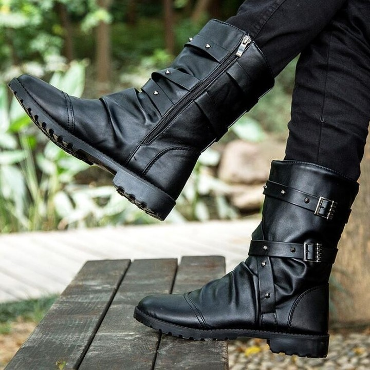 e06430d61c9 Mid-Calf Motorcycle Men Boots PU Leather Zip Winter Shoes Male Botas Hombre  High top Buckle Strap